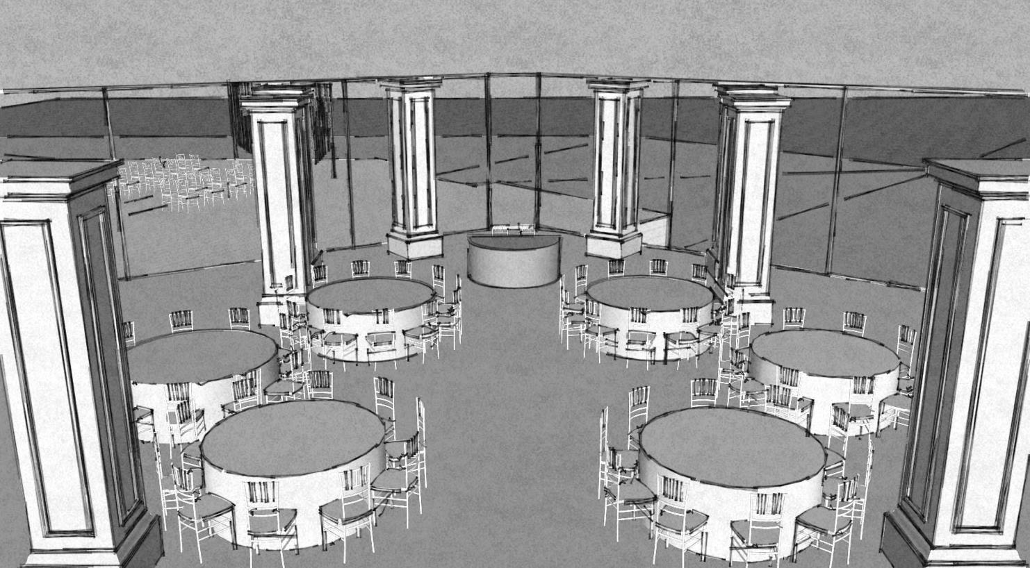 визуализация расстановки стола банкетного зала