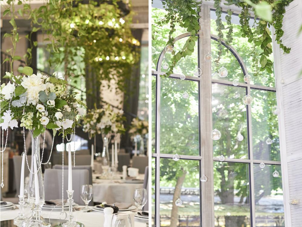 декор зала живыми цветами