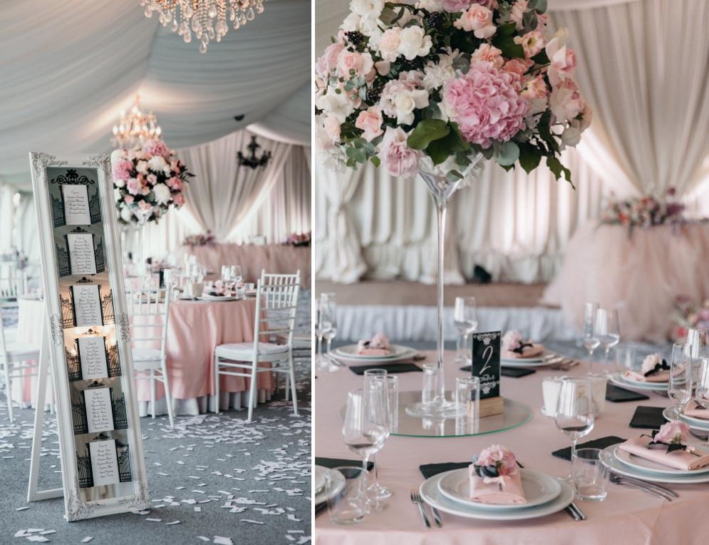 декор зала живыми цветами в ресторане Maristella