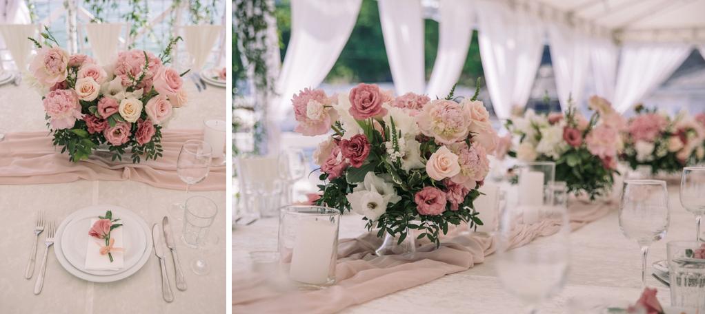 декор свадьбы живым цветами