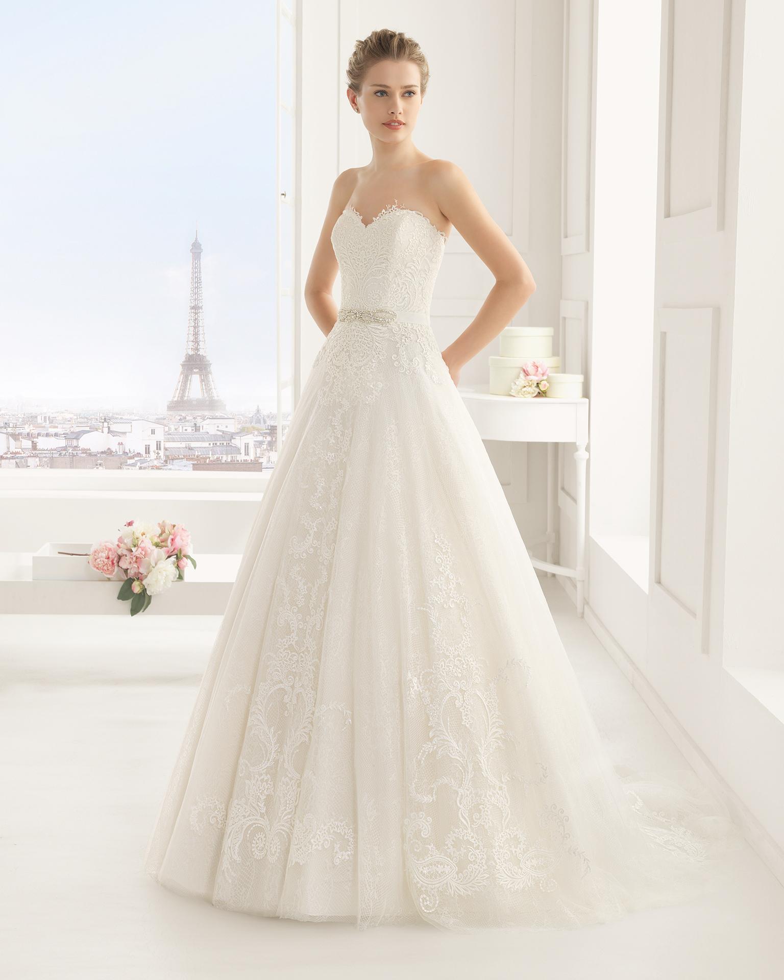 Elenco (38, тюль/кружево/бисер, natural) Свадебное платье Rosa Clara в Одессе. Свадебный салон Скоро Свадьба.