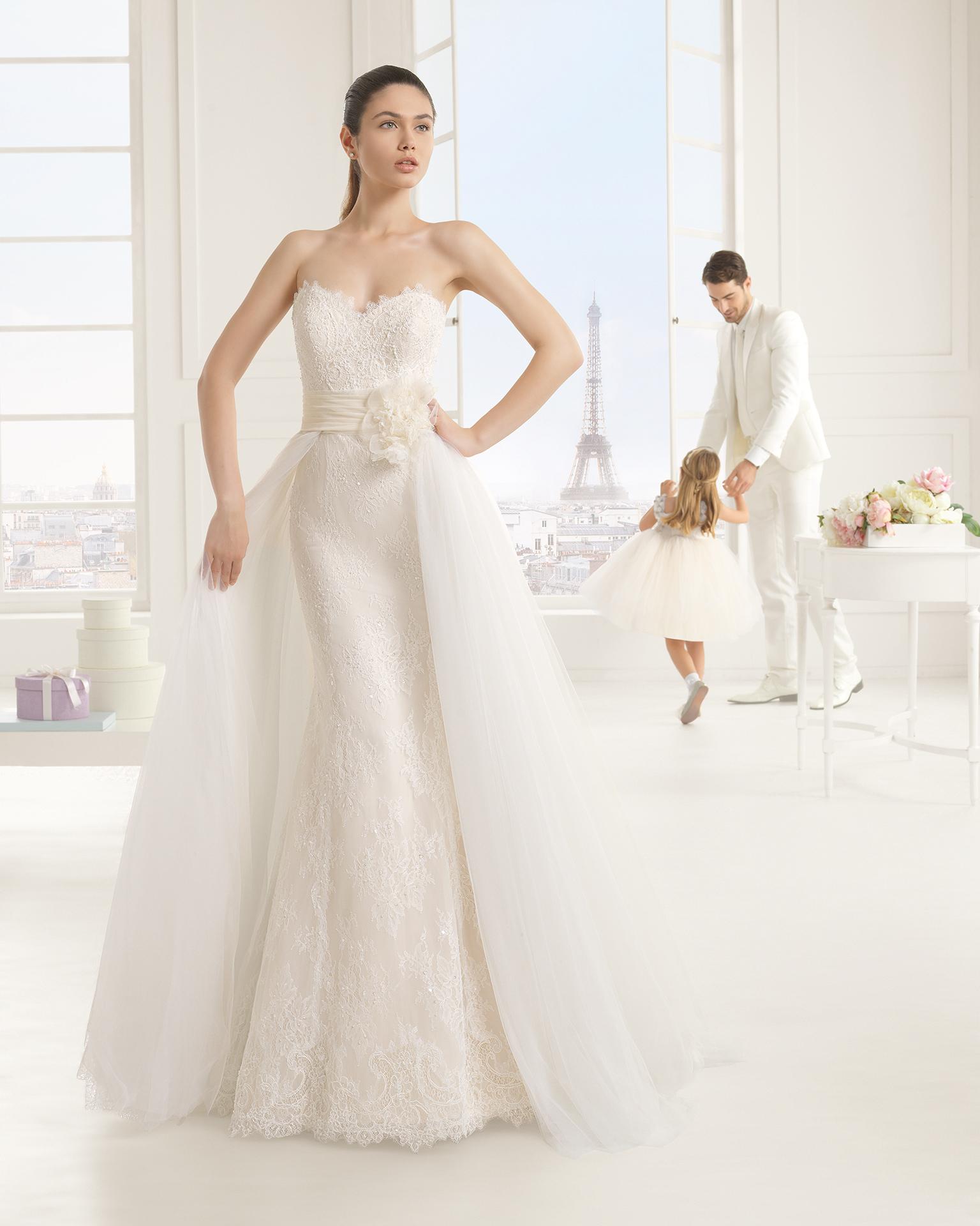 Eva (38, кружево/бисер, natural) Свадебное платье Rosa Clara в Одессе. Свадебный салон Скоро Свадьба.
